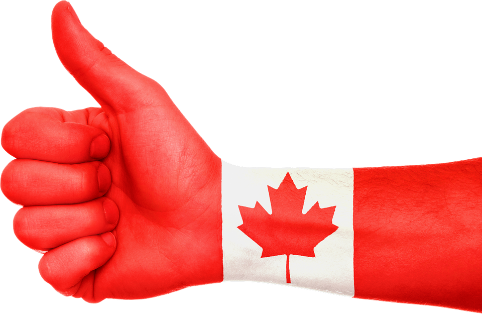hand with canadian flag